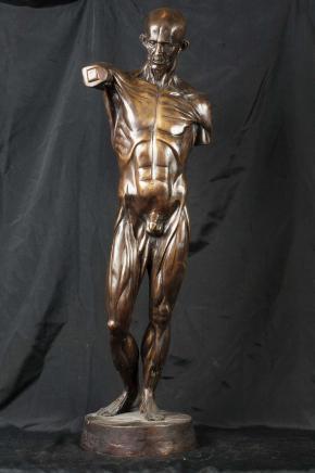 Italiano Bronzo Da Vinci Male Nude Man Statue Figurine