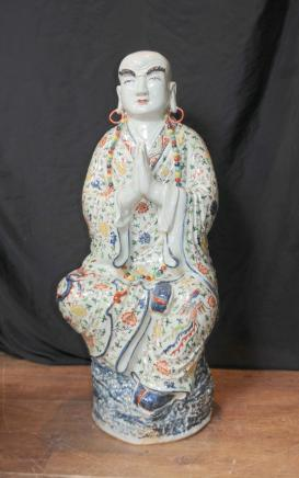 Japanese Satsuma Porcelain Buddha Statue Buddhist Figurine Buddhism