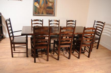 Oak Kitchen Dining Set Ladderback Stühle Refektoriumstisch Suite