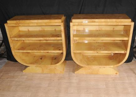 Paar Art Deco Shelf Units Regale Schränke Blonde Walnuss