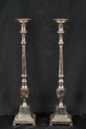 Paar Silver Plate Regency Candlesticks Candles Kerzenleuchter