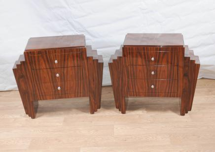 Pair Art Deco Bedside Chests Tables Chest Drawers Nightstand