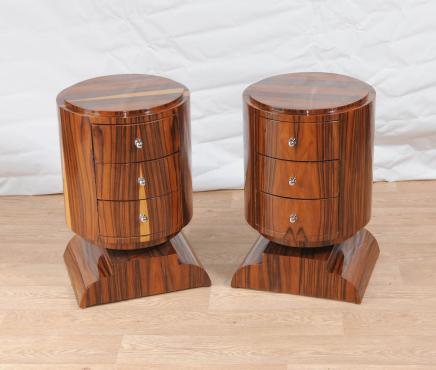 Pair Art Deco Chest Drawers Bedside Tables Nightstands