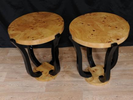 Pair Biedermeier Art Deco Side Tables Cocktail Table