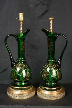 Pair Cut Glass French Empire Lamps Table Jug Lights