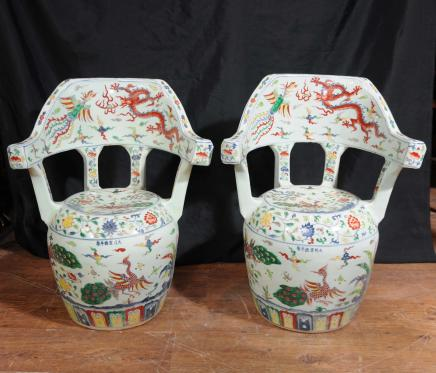 Pair Qianlong Chinese Porcelain Chairs Seats Ceramic Pottery
