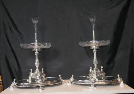 Pair Sheffield Silver Plate Epergnes Centrepiece Cherub Stand