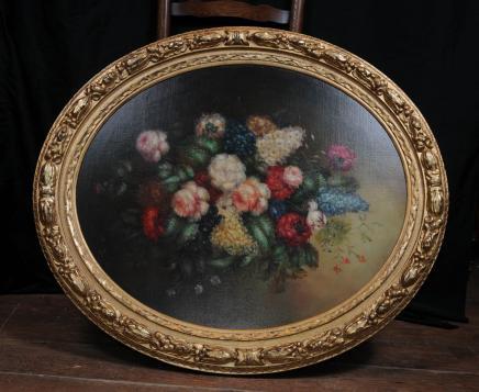Paire ovale victorienne huile Floral Frame Peintures doré Art