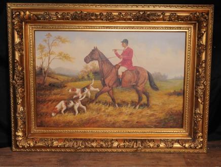 Paisaje pintura al óleo Inglés Horse Fox Hunt Caza Firmado G Roy