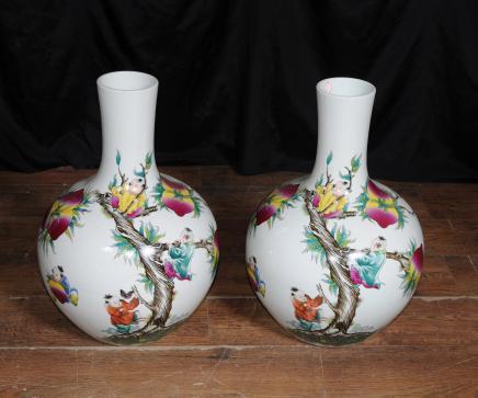 Par de porcelana japonesa Arita Jarrones Bulbous urnas de cerámica