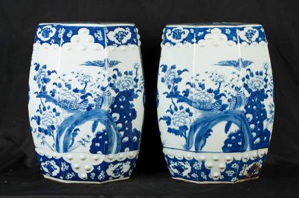 Par Nanking Azul Blanco Cerámica Porcelana Taburetes Asientos chino