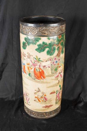 Paraguas japonés porcelana Satsuma pie de urna de cerámica