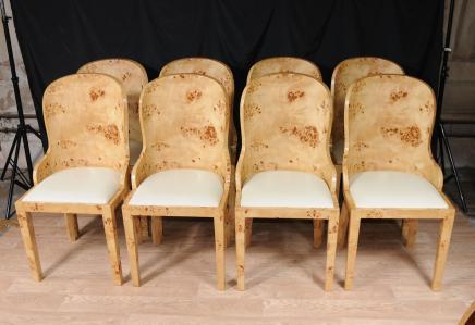 Set 8 Art Deco Dining Chairs Blonde Walnut Presidente Bañera