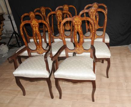 Set 8 italiani Intarsio Sedie da pranzo Inlay Arm Chair Diners