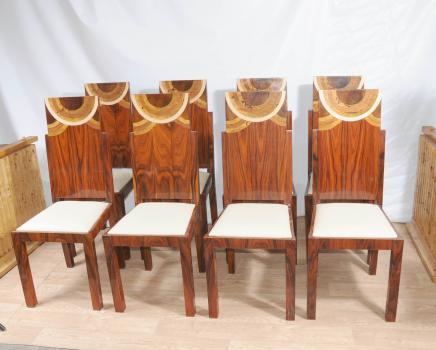 Set da pranzo in stile Art Deco Inlay Sedie Sedia 1920 Mobili