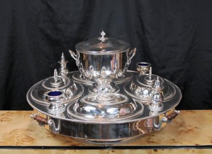 Sheffield Silver Plate Lazy Susan Bain Marie Servidor Centro de mesa Plato