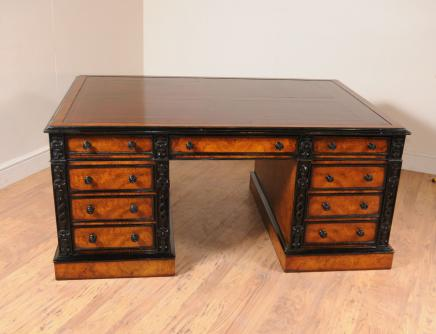 Victorian Walnut Partner Desk Walnut Schreibtische Writing Table