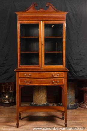 Antique Edwardian Display Cabinet Bookcase Flame Mahogany