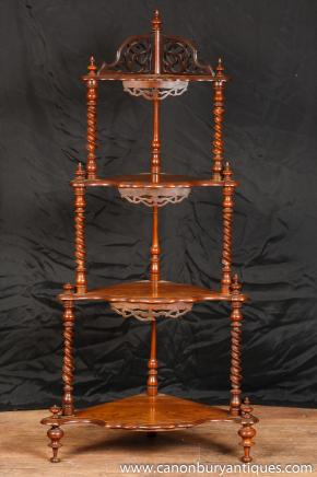 Antique Walnut Regency Corner Stand Walnut Bookcase