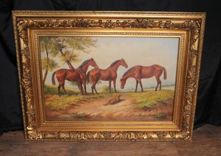 English Oil Painting Horse Pastoral Landscape Victorian
