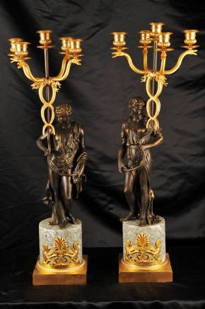 French Empire Bronze Candelabras Snake Figurine