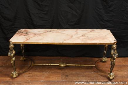 French Empire Ormolu Atlas Coffee Table Marble Top Cocktail Tables