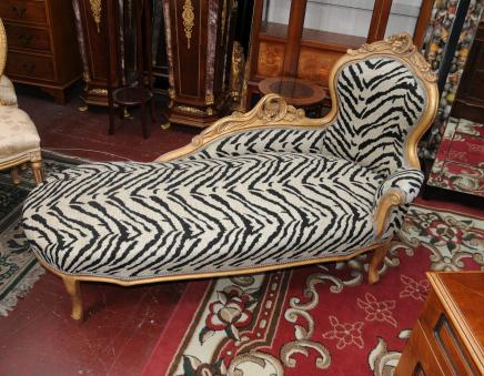 French Louis XV Chaise Lounge Sofa Day Bed Chair Seat Shabby Chic