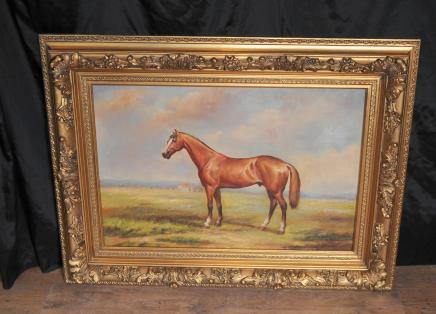 French Oil Painting Horse Pastoral Landscape Gilt Frame