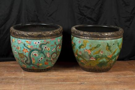 Pair Chinese Daoguang Pottery Dragon Bowls Planters Porcelain Pots