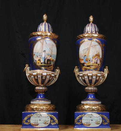 Pair Meissen Vases Porcelain Lidded Urns German Pottery