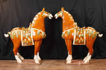 Pair XL Chinese Tang Porcelain Horses Pony Ponies Pottery Ceramic
