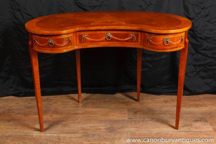 Regency Kidney Bean Desk Walnut Writing Tables Desks