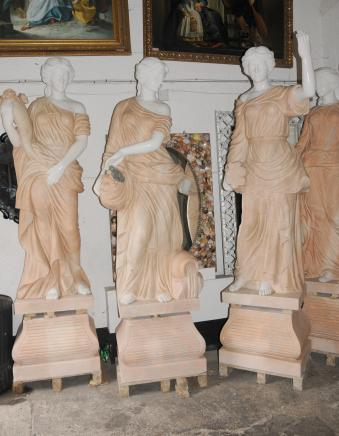 Set 4 Italian Marble XL Roman Maiden Statues Mythology Architectural