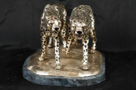 Silver Bronze Cheetah Statue Cat Cheetahs Deco Casting