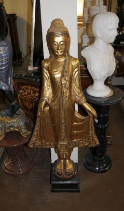 Geschnitzte Burmese Buddha Statue Buddhistische Kunst Buddhismus