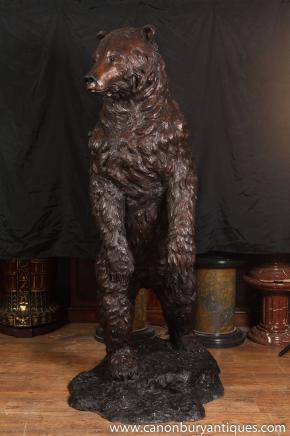 Große 6ft Bronze American Brown Bear Statue Bären Tiere