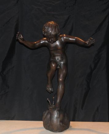 Große Französisch Bronze Jugendstil Statue Boy Snail Fountain