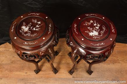 Paar Chinese Chippendale Side Pedestal Tischständer Perlmutt Inlay