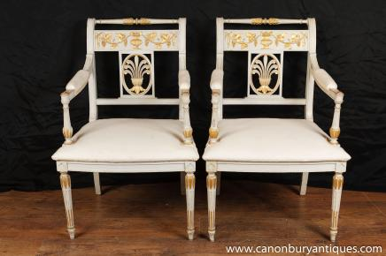 Paar Napoleon I. Arm Chairs Fauteils Französisch Neo Classical Painted Chair