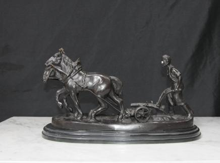 English Bronze Casting Horse Plough Farmer Ploughmans