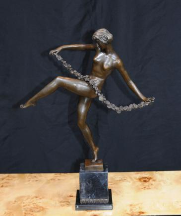 French Art Deco Sash Dancer Signed Figurine Statue