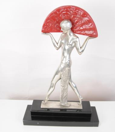 French Art Deco Table Lamp Light Semi Nude Figurine Statue