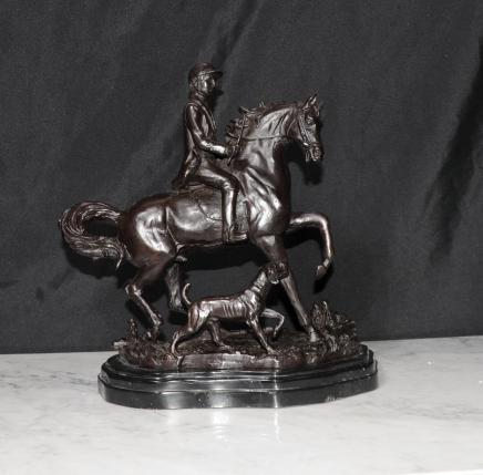 French Bronze Horse & Dog Statue Hunter Casting
