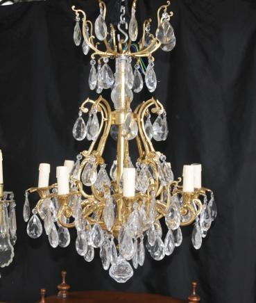 French Nouveau Ormolu Chandelier Cut Glass Light