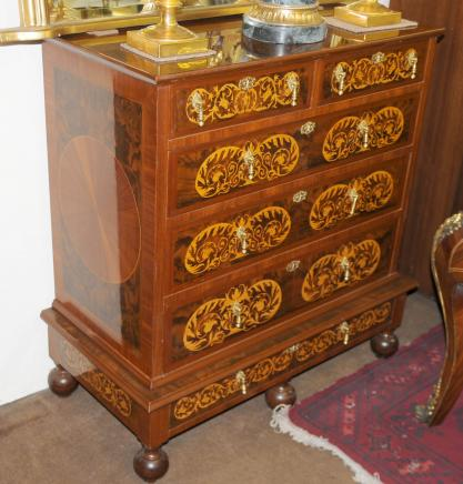 French Walnut Inlay Regency Chest Drawers