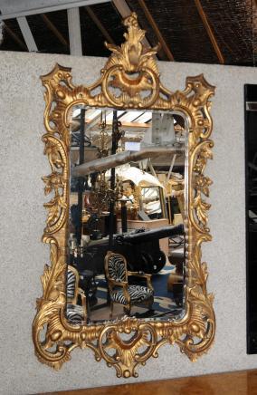 Grand anglais doré Verre Miroir Rococo Pier