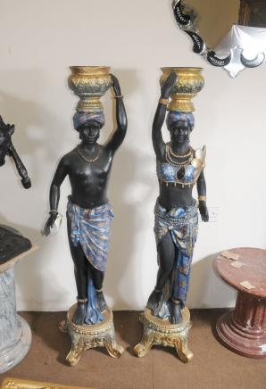 Pair 4.5 ft Italian Blackamoor Stands Figurines
