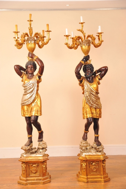 Pair 7 ft Italian Blackamoor Candelabras Torcheres Candle