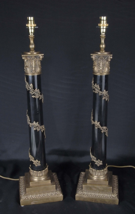 Pair Classical French Column Lamp Bases Lamps Lights