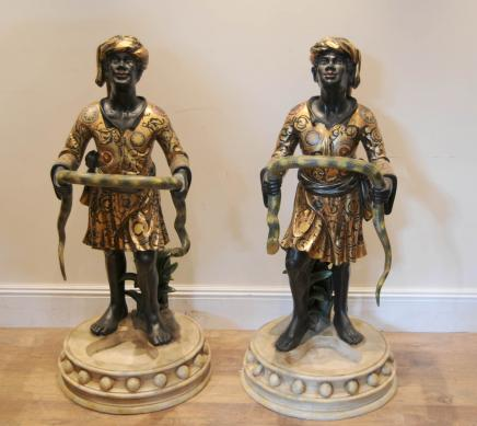 Pair Italian Blackamoor Statue Umbrella Stands Venetian
